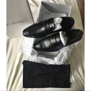Versace Collection Black Leather Penny Loafers